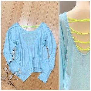 Soft aqua long sleeved open back shirts, S.